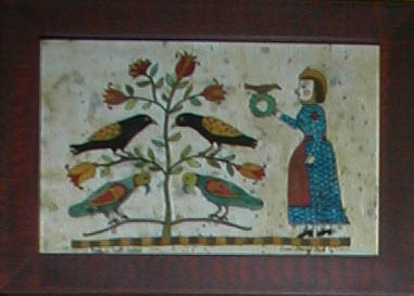 Woman w/ Bird and Wreath